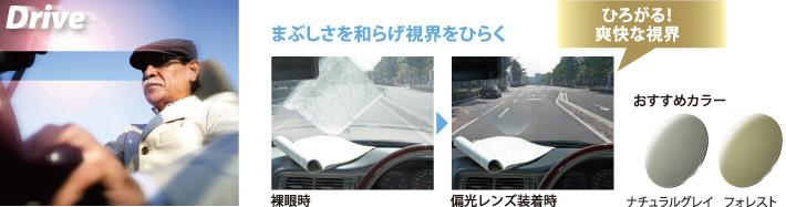 ドライブ時もまぶしさを和らげ視界をひらく、サングラス